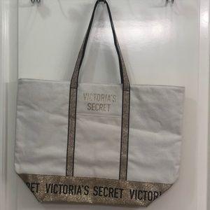 Victoria's Secret Gold Glitter Tote